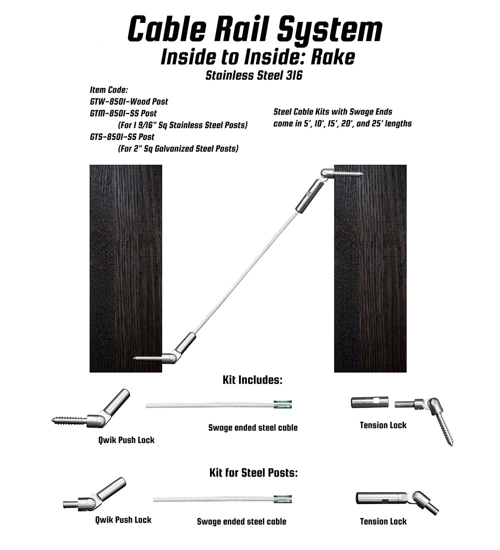 G&T Wood: Cable Rail System Inside Rake